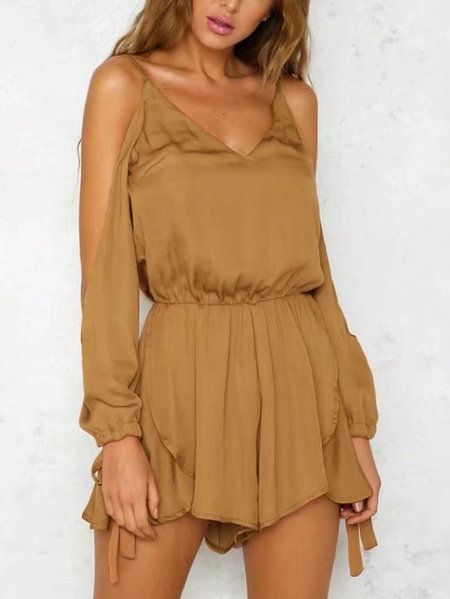 Khaki Button keyhole Back Cold Shoulder V-neck Long Sleeves Playsuit