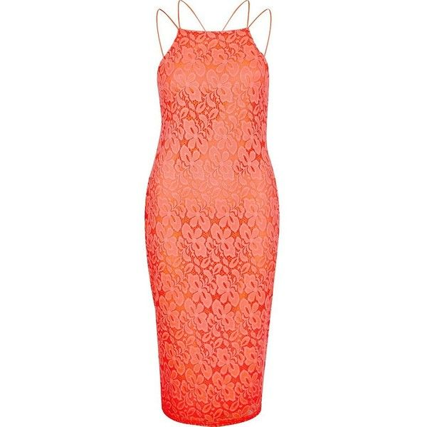 River Island Coral lace cami bodycon dress ($50) ❤ liked on Polyvore featuring dresses, bodycon dresses, coral, women, lace camis, lace dress, coral midi dress, bodycon dress and high neck lace dress