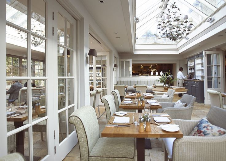 The Conservatory Restaurant at Calcot Manor Hotel & Spa near Tetbury in The Cotswolds, England http://www.calcotmanor.co.uk/dining-at-calcot/conservatory/