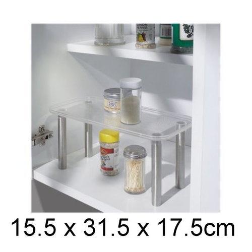 NEW Rectangular Bench Pantry Kitchen Utensil Storage Rack Shelf Organiser Clear