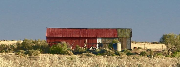 The multi coloured corrugated shed south of Maree, South Australia