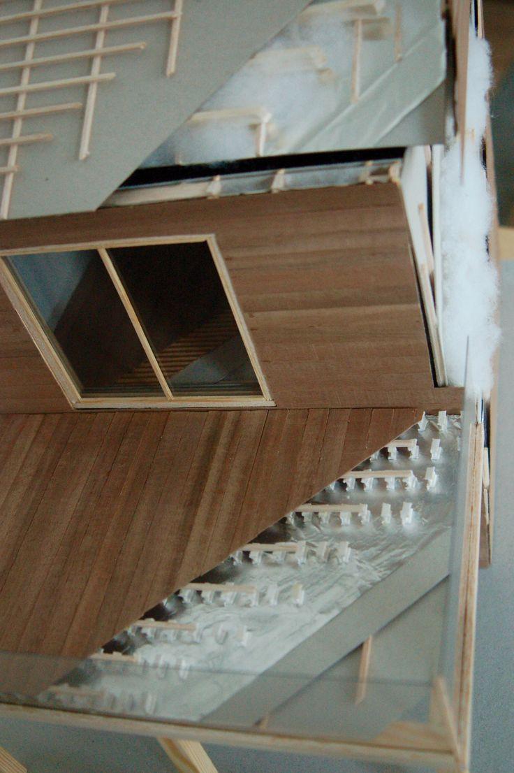 Maquette de construction d'une maison à ossature bois - Examen de janvier 2016 de construction - ESA St-Luc Liège - 2ème Bac Architecture d'intérieur