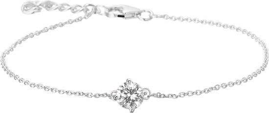 The Jewelry Collection Armband Zirkonia 16,5 + 2,5 cm - Zilver Gerhodineerd