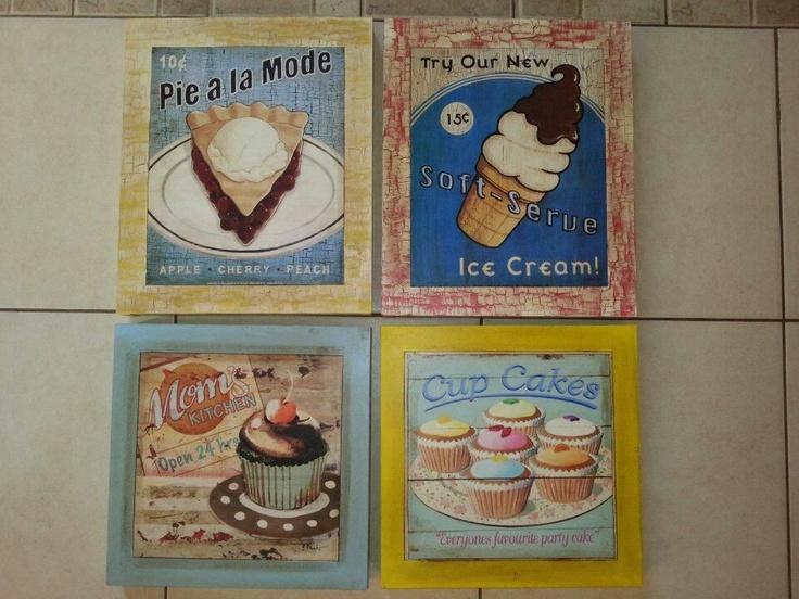 Cuarteto de cuadros para cocina retro arte para mi casa - Cuadros para cocinas ...