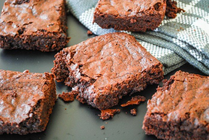 Best-ever fudgy brownies! Chocolate perfection!! The recipe is SO simple! Get it at www.brownbutterandbiscuits.com!