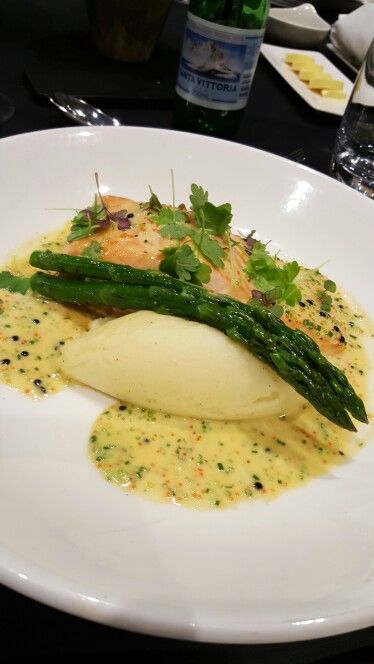 King Salmon with creamed potatoes, asparagus and caviar and chive sauce  Doltone House Sydney