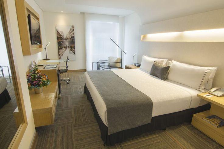 Las habitaciones de Sonesta Hotel Bogotá son amplias, muy ien iluminadas y completamente insonorizadas... Para el Gimnasio, cuentan con un convenio con BodyTech