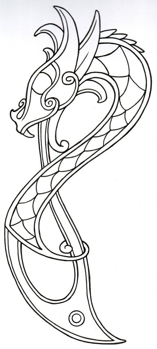 This would be beautiful done in batiks on a quilt. Viking Dragon Outline2 by ~vikingtattoo on deviantART