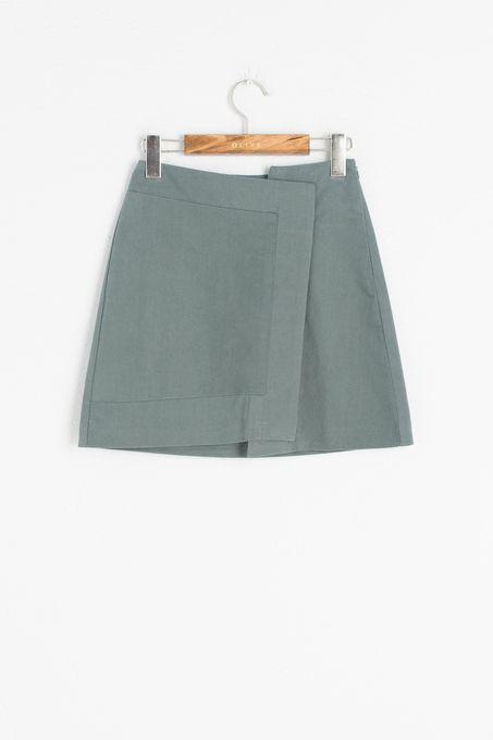 Unbalance Slim Fit Skirt, Mint, 100% Cotton