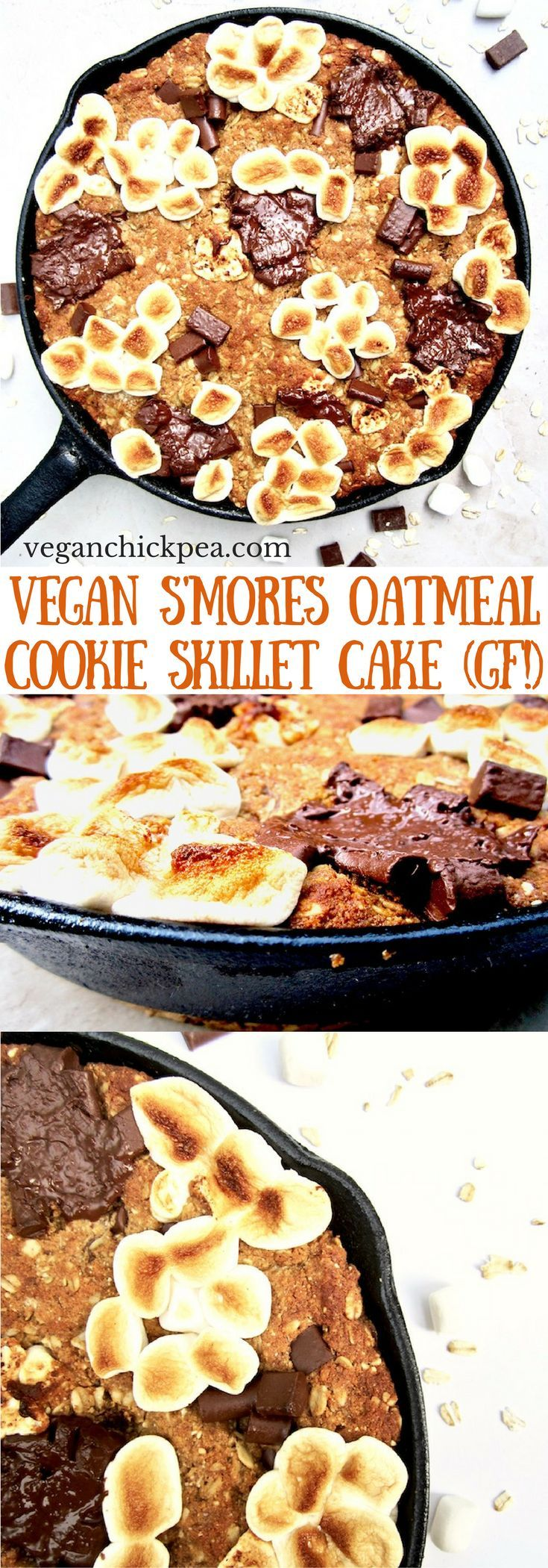 S'mores Oatmeal Cookie Skillet Cake recipe - This vegan and gluten free thick cookie cake is a hybrid between oatmeal bars and cookies, with chocolate chunks, marshmallows, oats, coconut flour and flavorful hints of cinnamon, nutmeg and ginger. A new spin