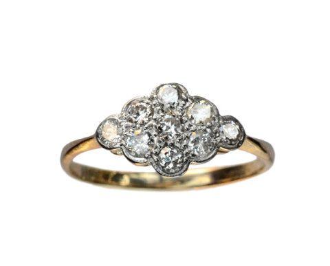 1910-20s English Diamond Cluster Ring, Platinum, 18K : Erie Basin Antiques