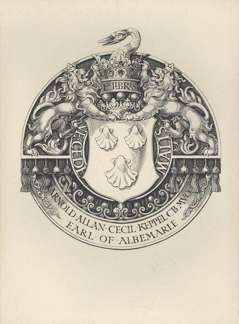 Armorial Bookplate of Arnold Allan Cecil Keppel, Earl of Albemarle