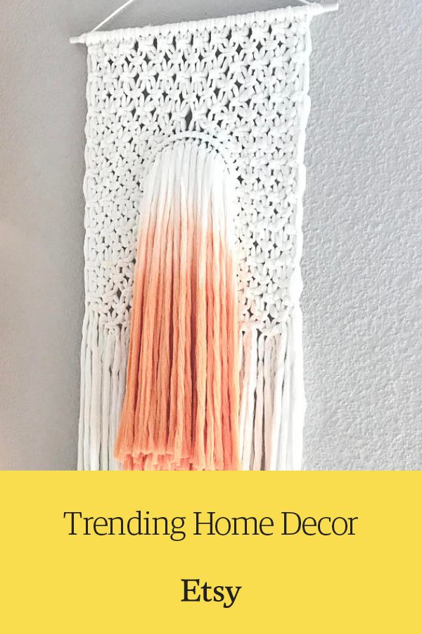 India-Orange ombre macrame wall hanging  Discover one-of-a