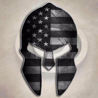 Subdued Flag Spartan Helmet Sticker Military Gun USA American Decal