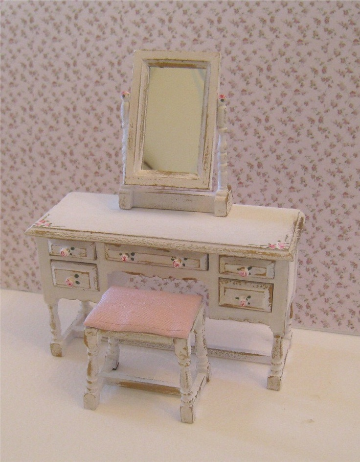 Shabby dressing table,stool,mirror, distressed white with rose bouquets,  Twelfth scale dollhouse miniature. $24.50, via Etsy.