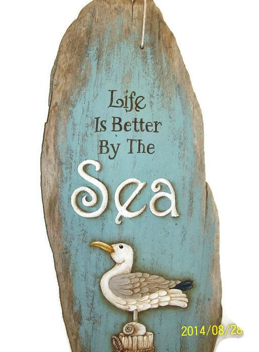 Hand Painted Driftwood Sign Seagull on by ToletallyPainted