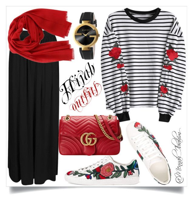 """#Hijab_outfits #Modesty #Gucci"" by mennah-ibrahim on Polyvore featuring Gucci, Boohoo and Salvatore Ferragamo"