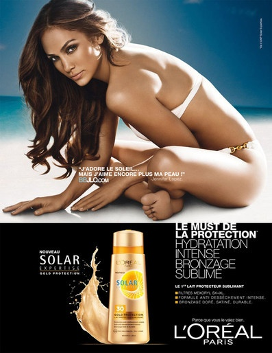 Jennifer Lopez stars in the new L'Oreal Sumblime Sun Summer 2012 campaign with hair by Laurent Philippon.