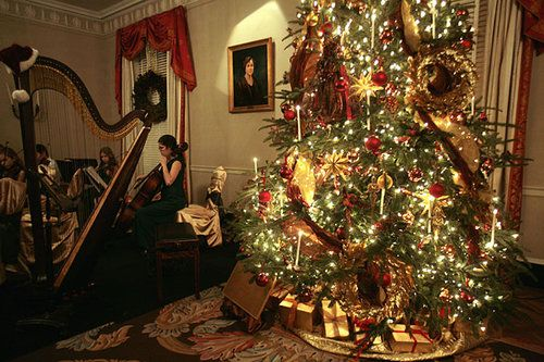 The Northside Chamber Orchestra plays for guests in one of the Christmas-decorated rooms of the Georgia Governor's Mansion on Dec. 7, 2008.  Gov. Sonny Perdue and his wife, Mary, hosted the annual lighting of the Christmas tree and tour of the Governor's Mansion.