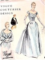 1950s GLAMOROUS Evening Gown and Cape Pattern VOGUE Couturier 831 Formal Gala Night Special Occasion Gown Bust 30 Vintage Sewing Pattern FACTORY FOLDED + Sew In Label