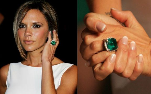 Victoria Beckham's engagement rings: a stunning emerald and diamond ring