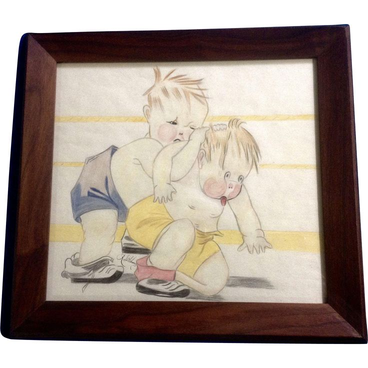 A. D. Shaw, The Wrestle, Two Kids Fighting in Ring 1920's 1930's Colored Pencil Drawing Signed by Artist