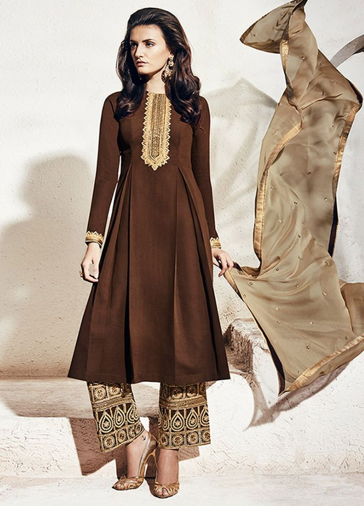Buy Brown color georgette party wear straight cut salwar kameez at kollybollyethnics with free worldwide shipping.