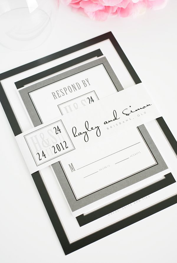 black and white wedding cards pinterest%0A Mix of modern and traditional in these black and white wedding invitations