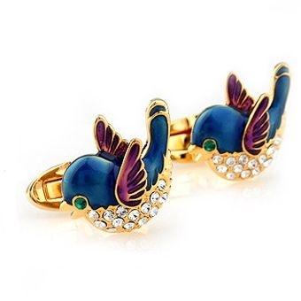 Deks Bros Gold Crystal Claret Blue Bird Kol Düğmesi-Klasik Kol Düğmeleri-DEKS BROS-DEKS BROS GOLD CRYSTAL CLARET BLUE BIRD KOL DÜĞMESİ-Klasik Kol Düğmeleri-DEKS BROS-Kol Düğmesi, Kravat, Gömlek, hediye ve tüm aksesuar çeşitleri