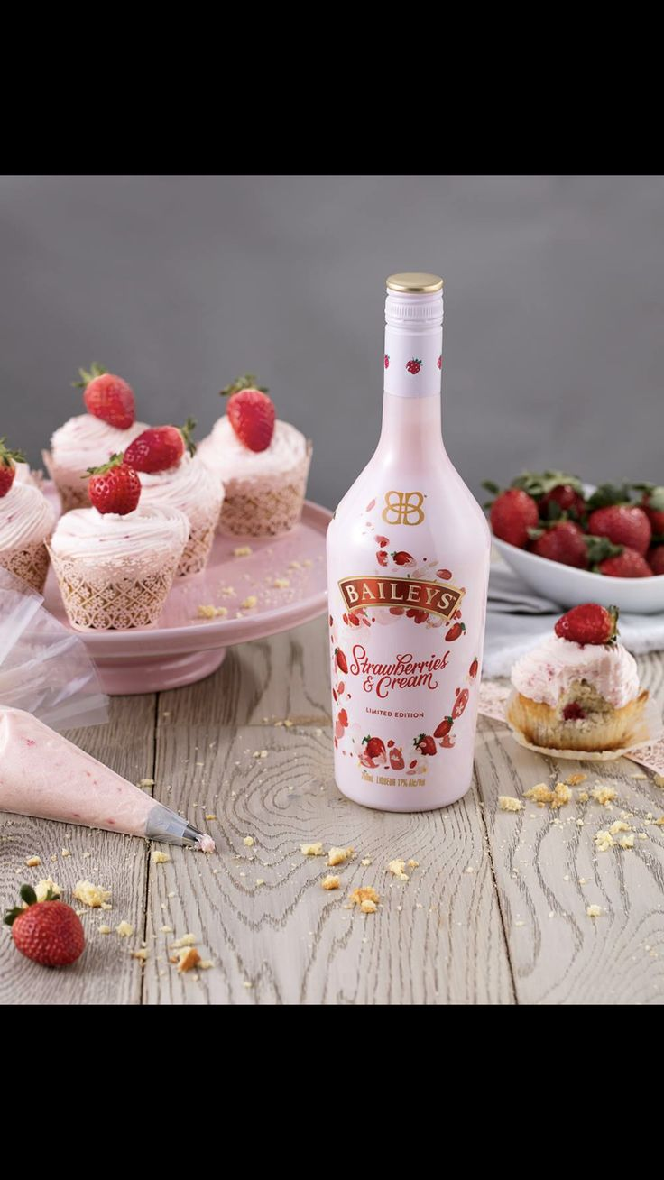 Baileys Strawberries & Cream Strawberry Buttercream Frosting:  To make, mix 4 cups powdered sugar and 1 cup butter in a mixer on low. Add 1/4 cup pureed strawberries and 2 oz Baileys Strawberries & Cream until fluffy. Add frosting to your cupcakes.