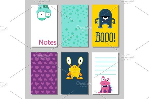 Colorful funny cards set with cute monsters Templates for birthday
