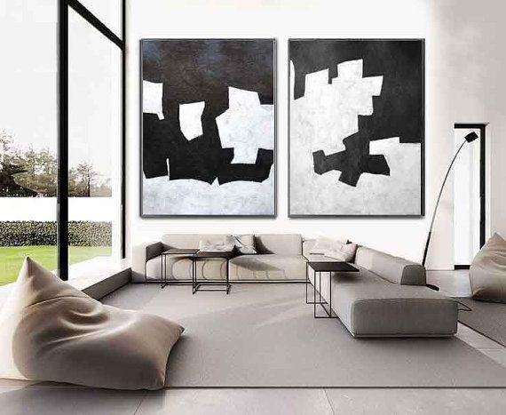 Set Of 2 Huge Contemporary Art Acrylic Painting On Canvas, Minimalist Canvas Wall Art Home Decor, Geometrical Art, HANDMADE.