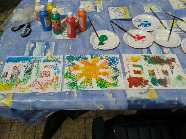 Schilderen met bubbelplastic en schilderstape