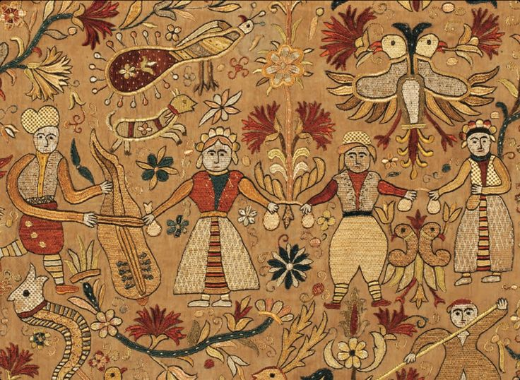 Detail. Cretan Embroidery, 18'th Century. Crete was ruled by the Venetians until 1669 than by the Ottomans till 1913. Cover Hali Winter 2012. Private Collection, USA.