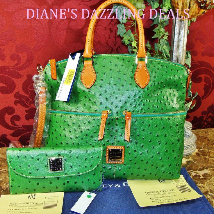 Dooney & Bourke NWT Ostrich Emb Leather Pocket Satchel & CkBk Wallet FREE GIFT