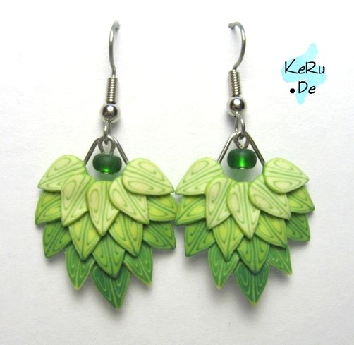 Fimo Ohrringe - Polymer Clay Earrings Green leaves