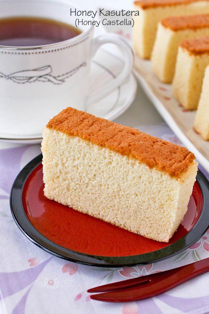 Honey Kasutera (Honey Castella) - fine textured Japanese sponge cake raised solely by egg foam. Only 4 ingredients - eggs, sugar, bread flour, and honey. | RotiNRice.com
