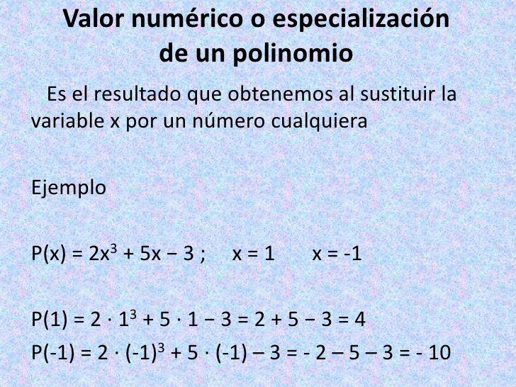 valor numerico de un polinomio - Buscar con Google