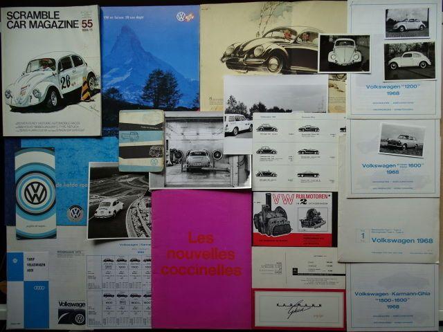 VOLKSWAGEN Type 1 (Coccinelle Käfer kever) Type 3 KARMANN - GHIA enz enz - gemengde partij van verkoopbrochures pers informatie & foto's prijslijsten enz  Zeldzame alot van gemengde documentatie voor veel & Volkswagen Karmann-Ghia-auto's in de jaren zestig & jaren zeventig en meer.Deze kavel is waaronder de volgende: Persfoto's voor Karmann Ghia & kever 1961 Karmann Ghia prijslijsten 1960 1964 1967 & 1968 Volkswagen prijslijsten 1970 Volkswagen productie programma & prijzen 1968 & Volkswagen…