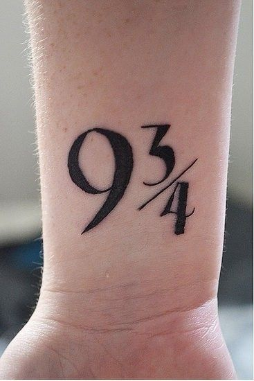 "wrist tattoo quotes of the magical train station platform in Harry Potter - ""9 3/4"" tattoo quotes"