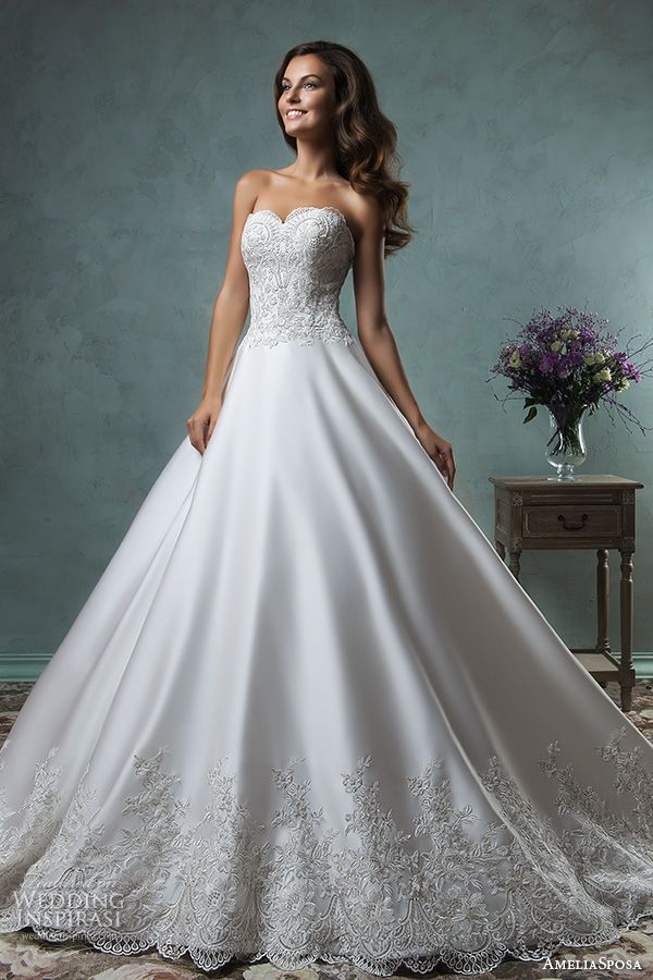 amelia sposa 2016 wedding dresses strapless sweetheart neckline embroideried bodice beautiful satin a line ball gown wedding dress canty close up