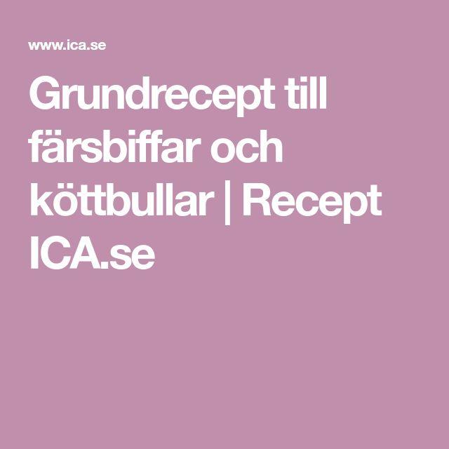Grundrecept till färsbiffar och köttbullar | Recept ICA.se