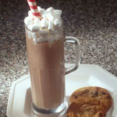 Frosty Hot Chocolate Recipe Beverages with Breyers® Chocolate Ice Cream, milk, chocolate, mini marshmallows