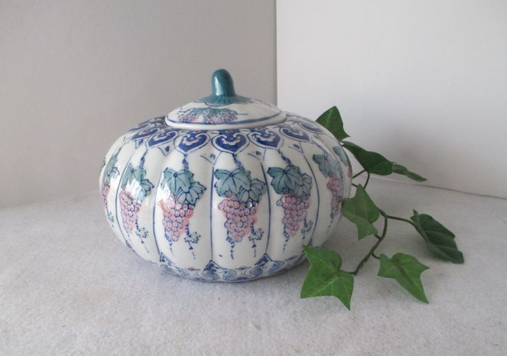 Porcelain Melon Shaped Jar, Vintage Jar with Lid, Grapes, Blue Pink Green, Grapevine Leaves, Decorative Storage, Asian Decor, Secret Stash by HobbitHouse on Etsy