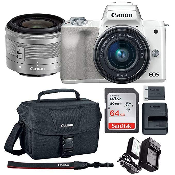 Canon Eos M50 15 45mm F 3 5 6 3 Is Stm Mirrorless Digital Camera White With Spare Battery And Charger 64gb Mem Canon Camera Bag Canon Camera Digital Camera
