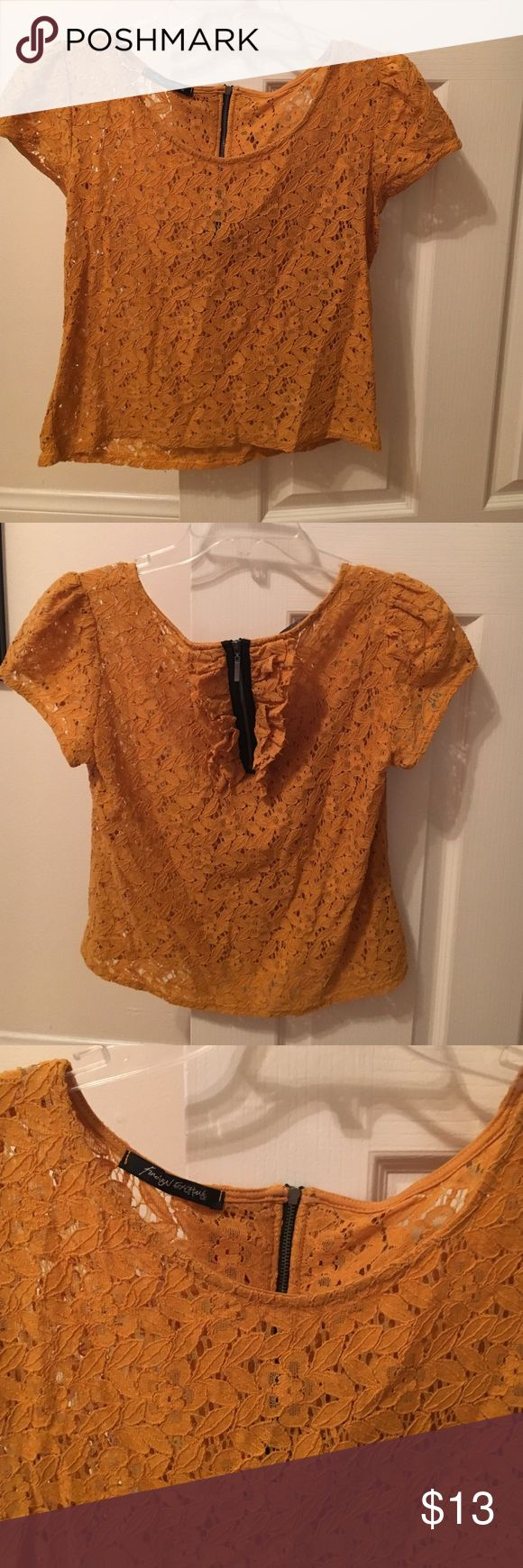 Foreign Exchange mustard yellow top Adorable mustard yellow top. Looks great with dark blue jeans or short skirt. Foreign Exchange Tops