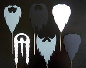 Beards on a Stick - Photo Booth Props -Parties, Birthdays, Weddings, - Photobooth Props. Set of Six