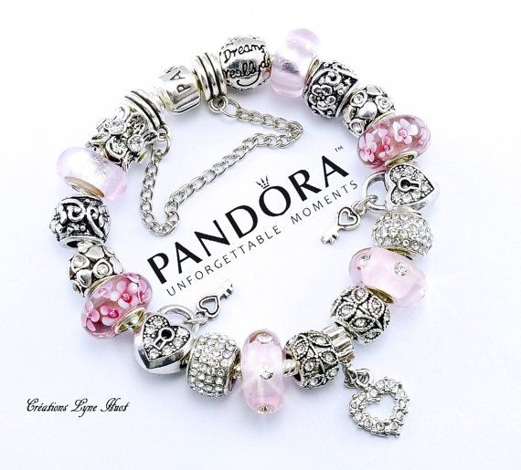 Bracelet PANDORA argent sterling avec charmes fête de maman ou  choisissez un bracelet Européen plaqué argent avec tous les charmes  (P-07)