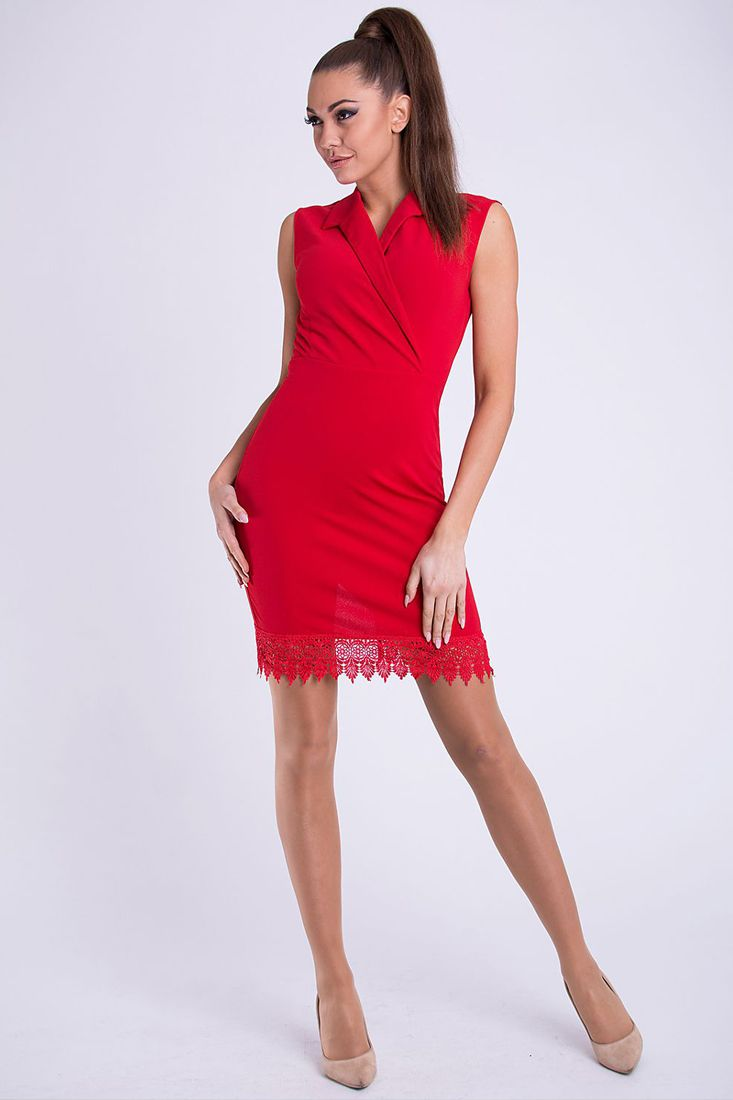 Red Lace Trim Crossover Dress - Red Short Dress Online.