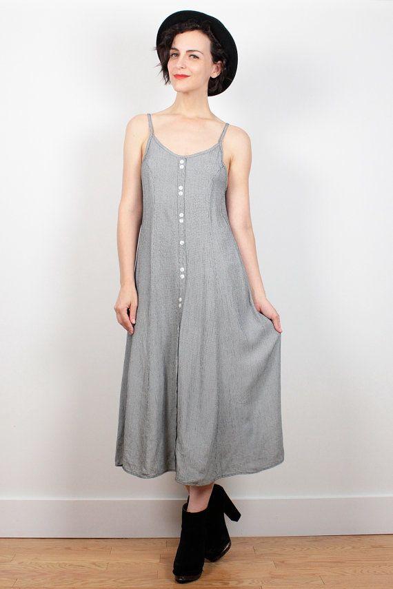 Vintage 90s Dress Black White Houndstooth Print Midi Dress Soft Grunge Dress Minimalist Dress Gray Look 1990s Dress Sundress S Small M Med by ShopTwitchVintage #90s #1990s #sundress #dress #minimalist #houndstooth #midi #grunge #soft #softgrunge #etsy #vintage